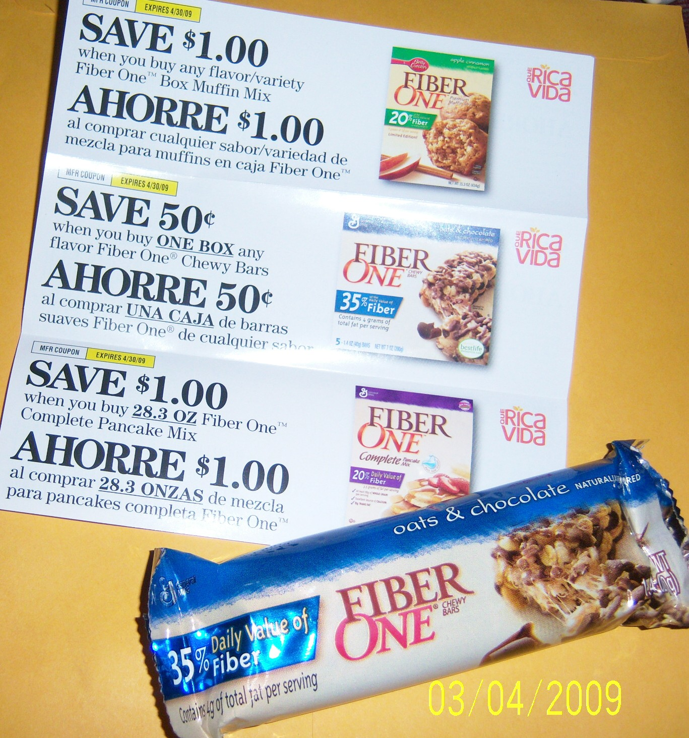 fiber one oats and chocolate chewy bar and 3 coupons