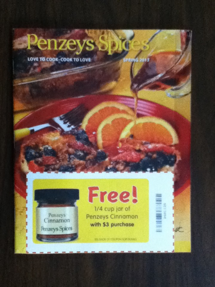 Get Free 1/2-Cup Jar of Penzeys Natural Cocoa When You Spend $5 at Penzeys Spices. Details: *Penzeys Cocoa Offer Details Limit one free 1/2-cup jar of Penzeys Natural Cocoa per household during run of promotion. $5 spending required. Not applicable to prior sales, not valid with other offers.