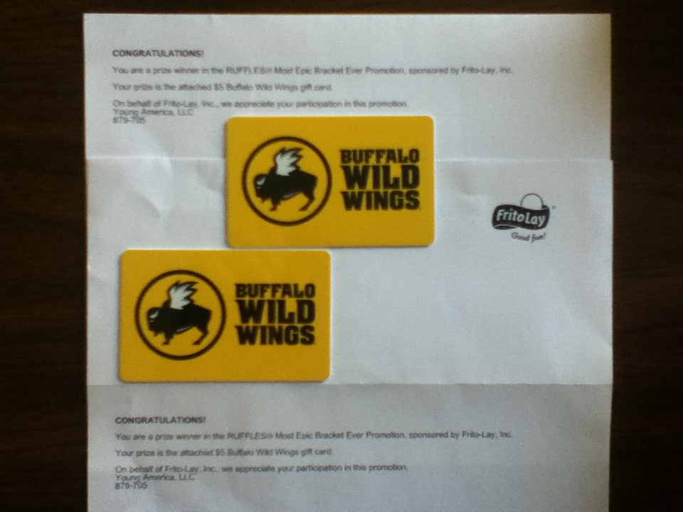 buffalo wild wings gift card promotion ruffles most epic bracket ever promotion won a 5 8920