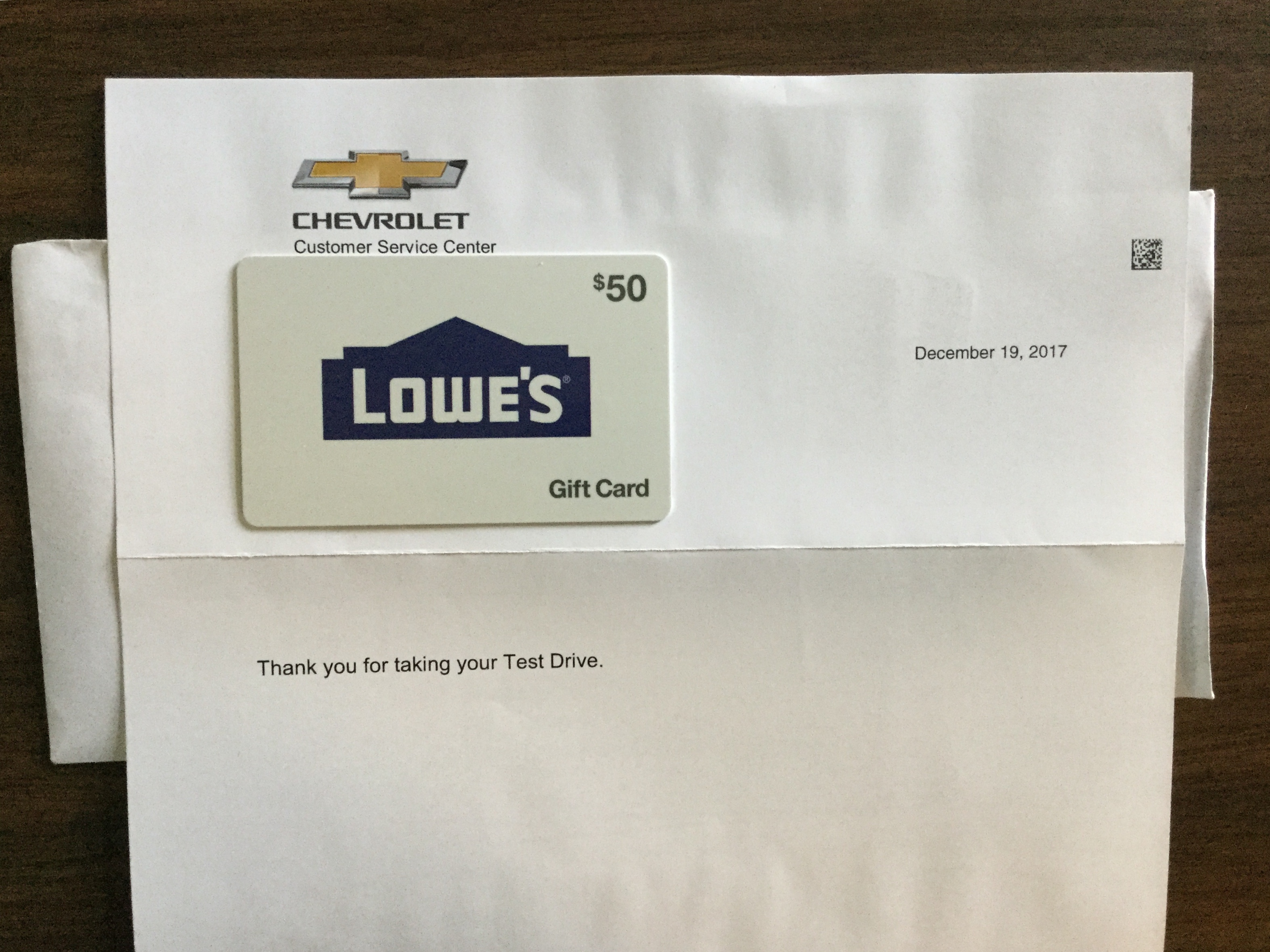 Free $50 Lowe's gift card from Chevrolet test drive