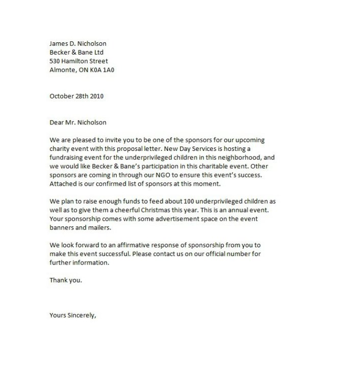 Amazing Proposal Letter For Sponsorship Sample For Event – Letter for Sponsorship for Event