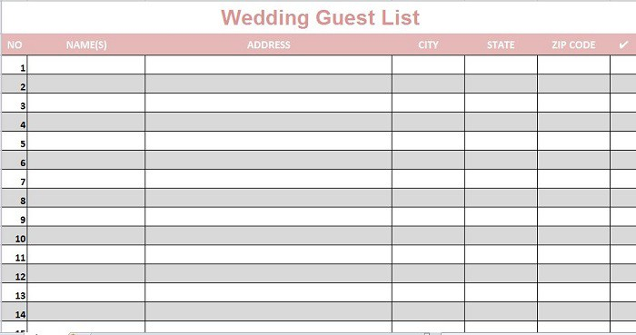 Bridal Party List Template Vosvetenet – Guest List Template Free