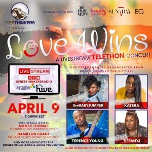 #LoveWins April 9 7-9pmEST Live on Fb, IG, PERISCOPE and YouTube….