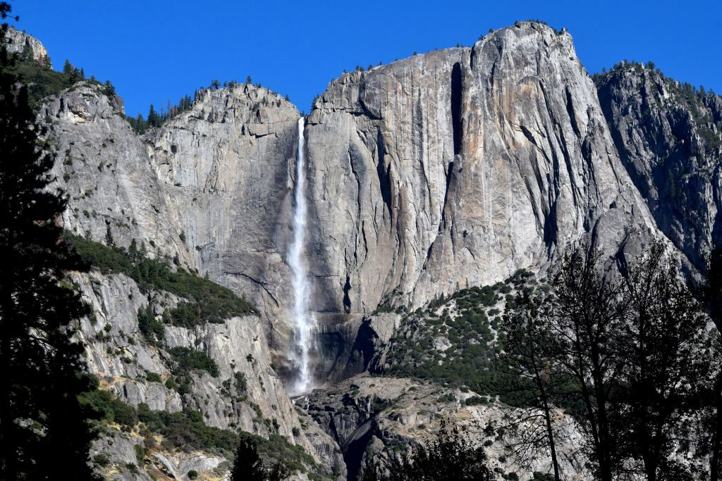 Yosemite Falls towering above the valley