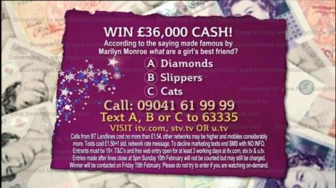 This Morning show quiz question to win £36,000- valid to 15/02/13