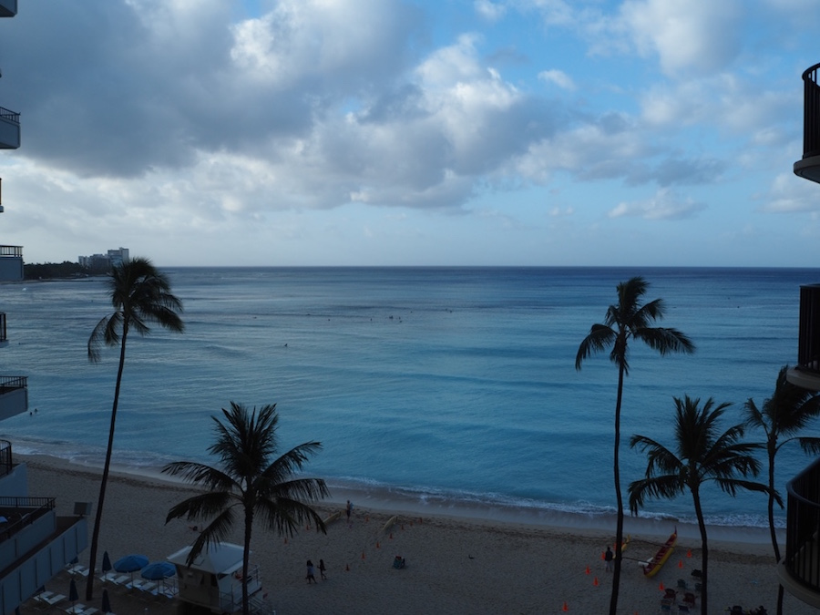 View from our room over Waikiki Beach. Very quiet after sunrise!