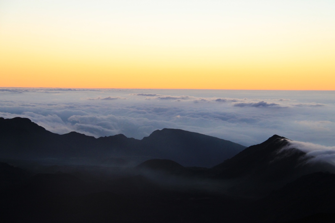 Sunrise at the top of Haleakala Crater