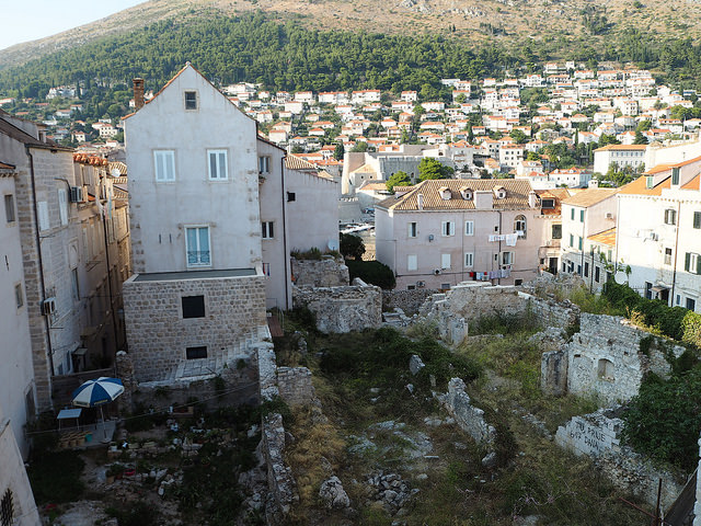 Damages from the siege of Dubrovnik in 1991