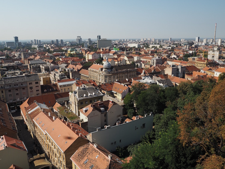 View over the lower town from the Lotrscak Tower