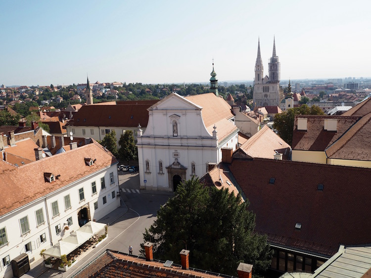 View over St Catherine Square and Kaptol from the Lotrscak Tower