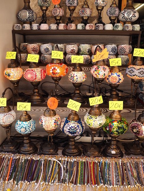 Cheap lamps for sale in one of the many souvenir shops