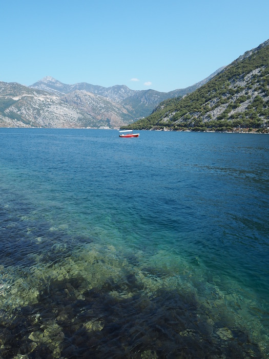 The blue water of the Bay of Kotor