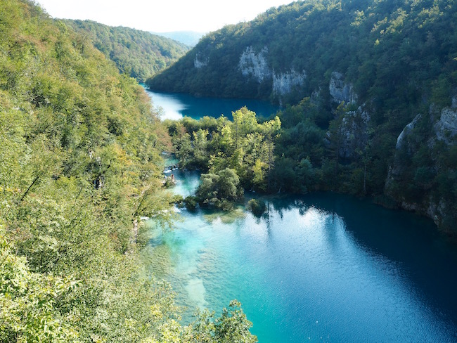 View over the lower lakes of the Plitvice Lakes National Park