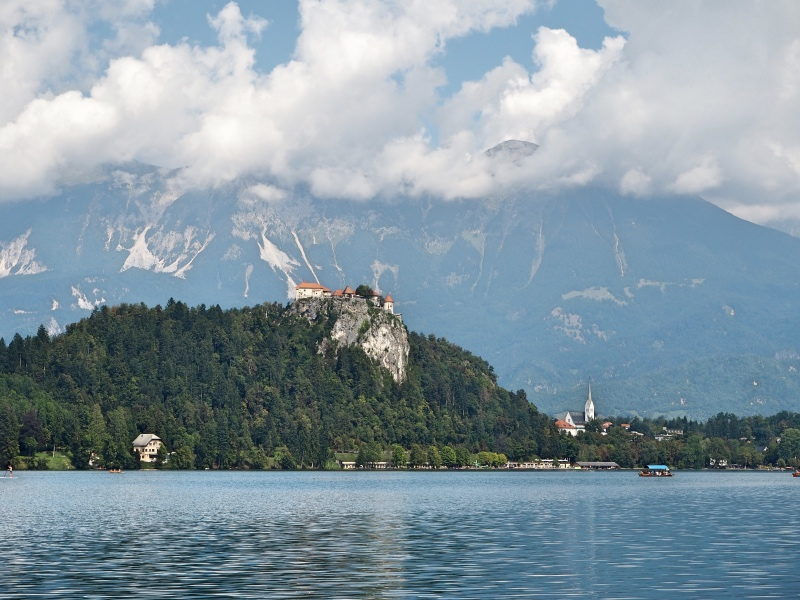 The Bled castle at the top of the hill.