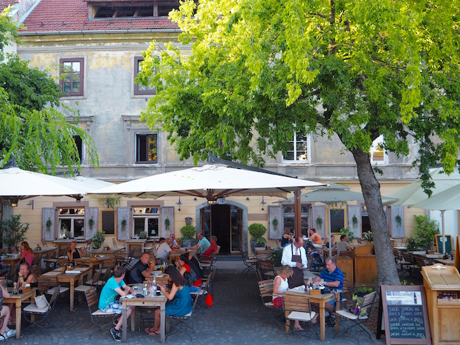 One of the many cafes in Ljubljana.