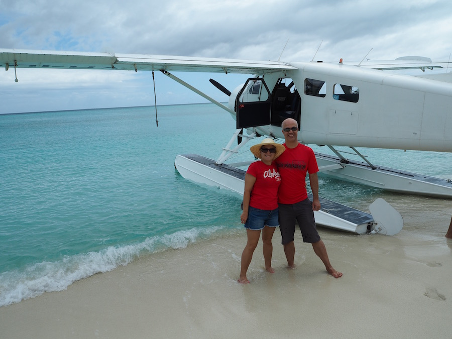 Posing in front of our seaplane!