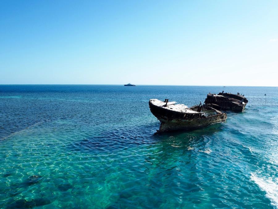 Approaching the island by catamaran.
