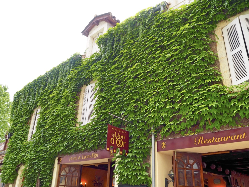A restaurant covered in Ivy