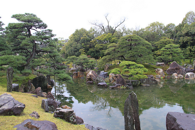 Beautiful Japanese gardens on the grounds of the Nijo Castle.