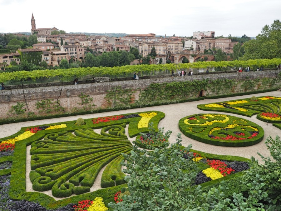 The beautiful French gardens of the Berbie Palace.