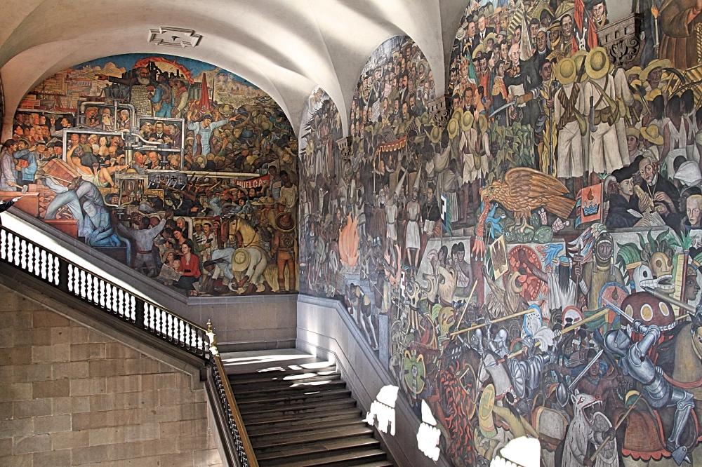 Diego Riviera's murals at the Palacio Nacional de Mexico.