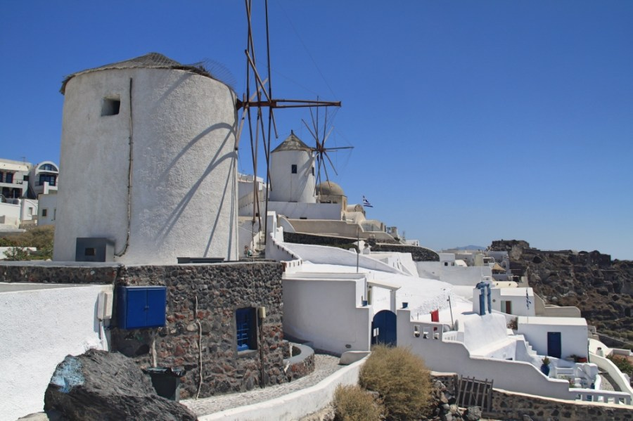 Oia and its windmills.