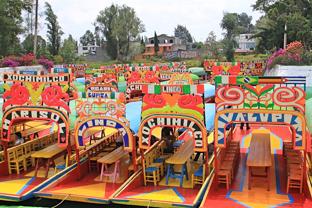 The boats of the Xochimilco canals.