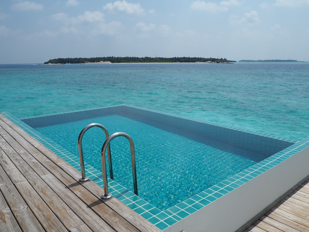 The plunge pool in the overwater villa.