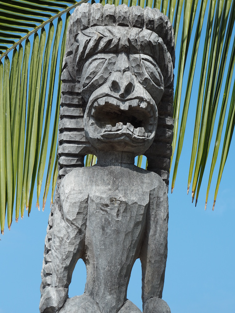 A tiki statue inside the historic park.
