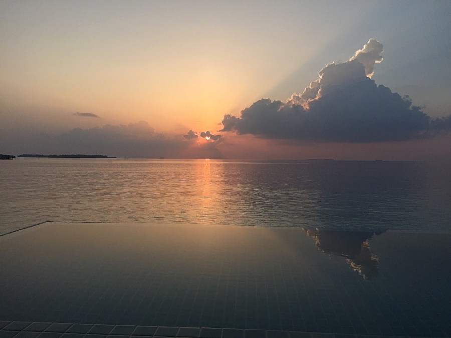 Sunset over the plunge pool.