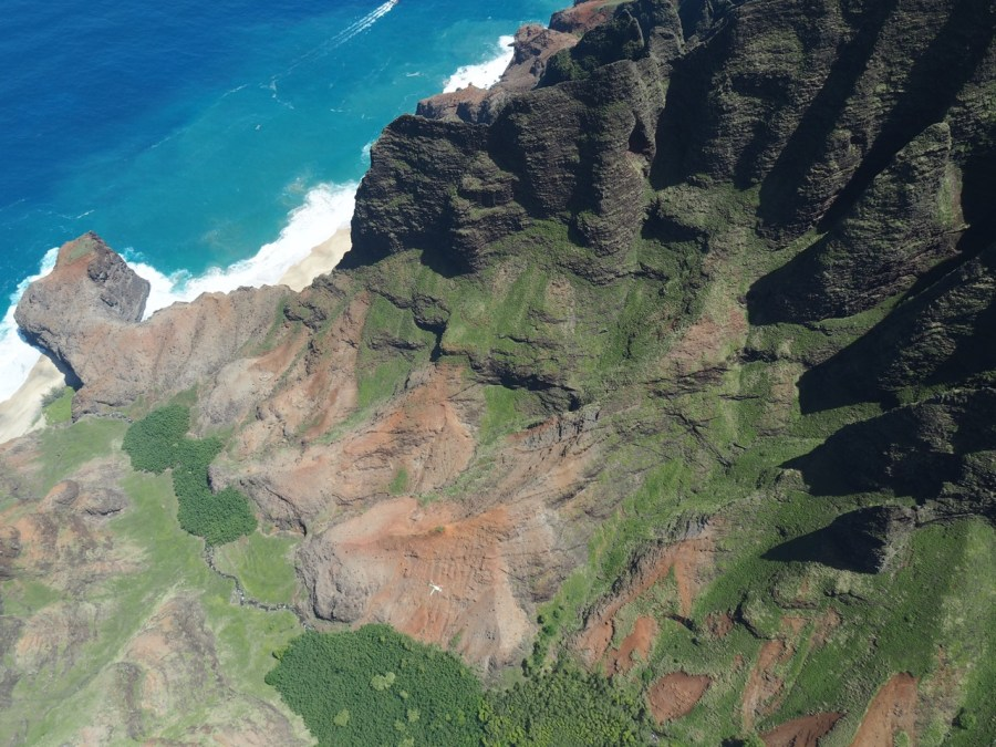 View over the Napali Coast from the air.