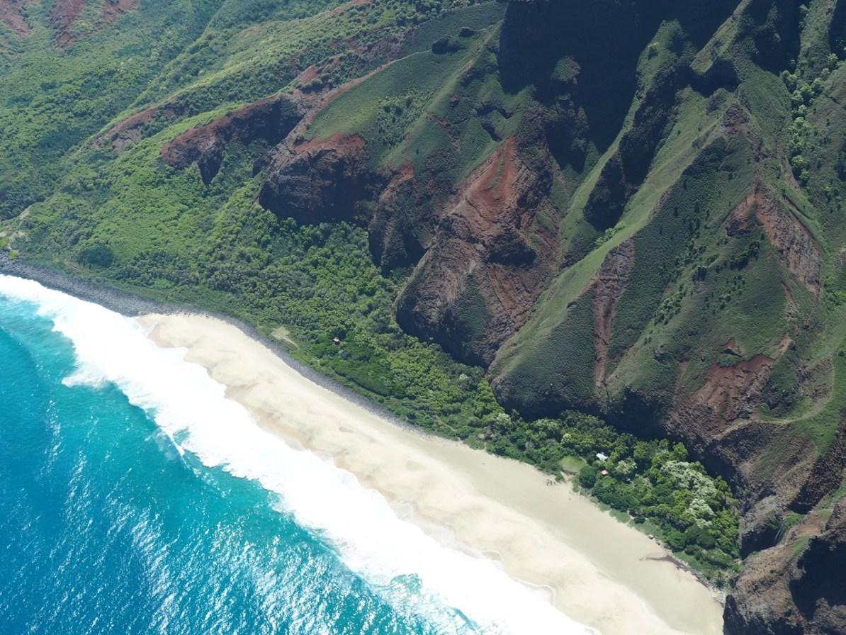 The remote Kalalau Beach, marking the end of the Kalalau trail.