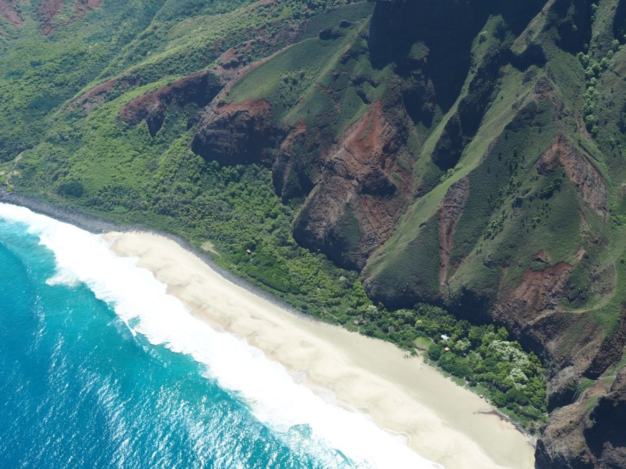 The remote Kalalau Beach, marking the end of the Kalalau trail.