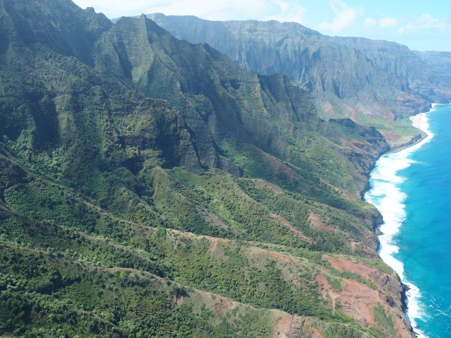 View over the Na Pali Coast from the helicopter.