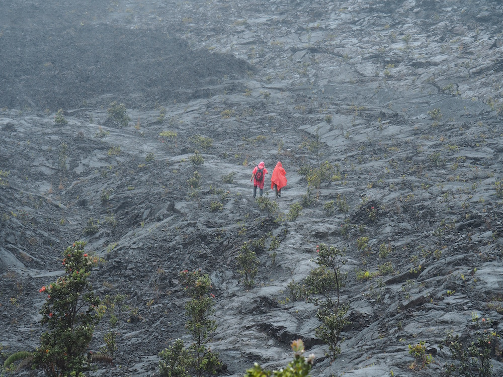 A very wet hike through a lava lake!