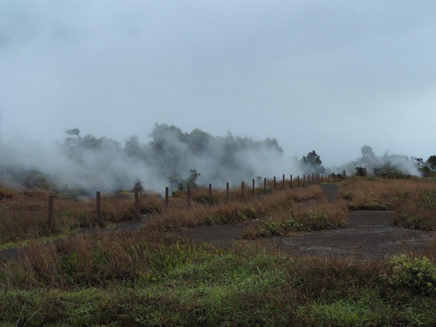 Many steam vents on a rainy day.