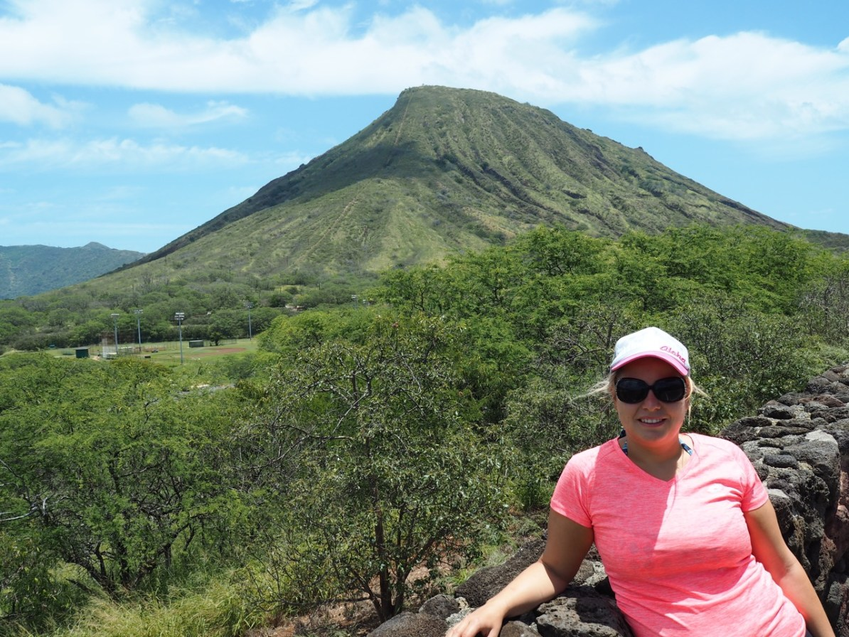 Koko Head from the lookout point. We knew then it would be a painful hike!