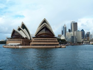 The beautiful Sydney Opera House viewed from the harbour.