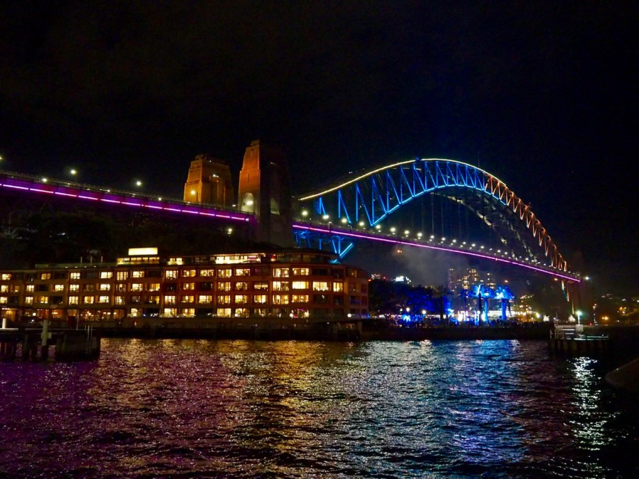 The iconic Harbour Bridge all lit up.