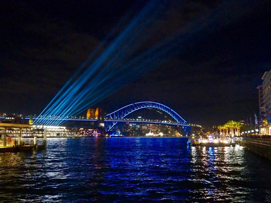 The iconic Harbour Bridge all lit up.