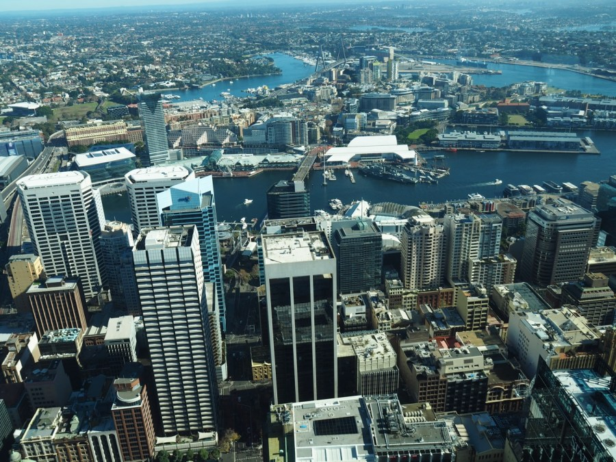 View over Darling Harbour from the Sydney Tower.