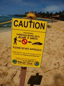 Sign on Poipu Beach.