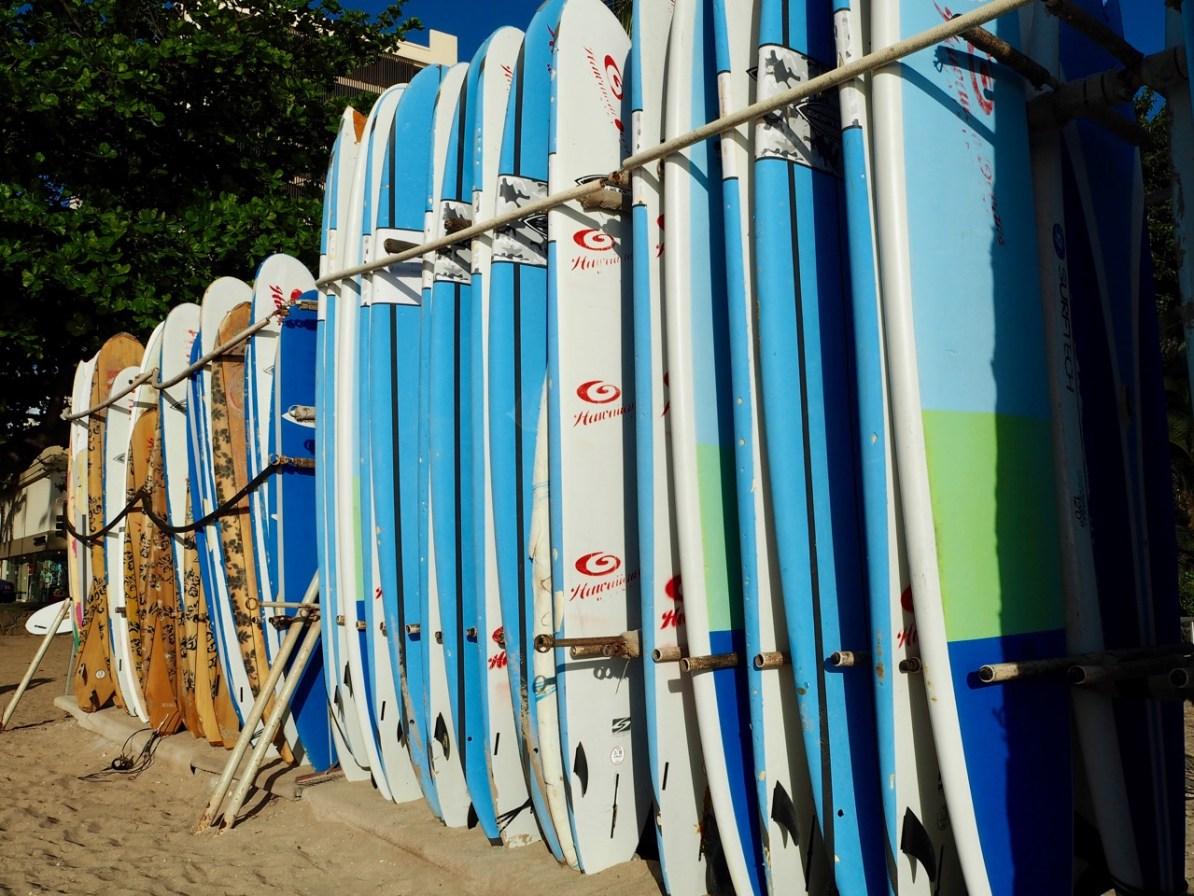 Many boards on Waikiki Beach.