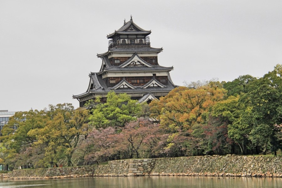 Hiroshima Castle viewed across the moat.