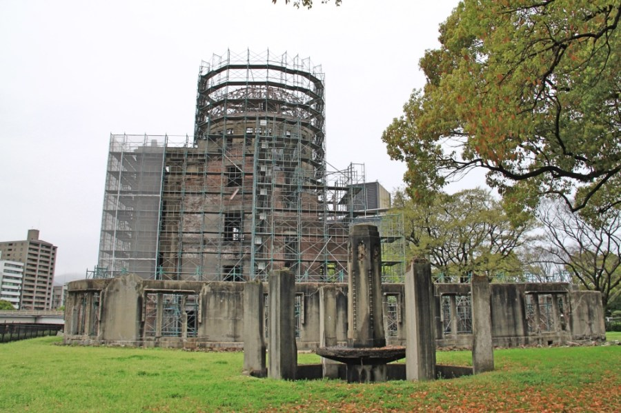 The Atomic Bomb Dome undergoing renovations.