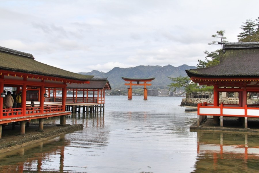 View of the torii from the Itsukushima Shrine.