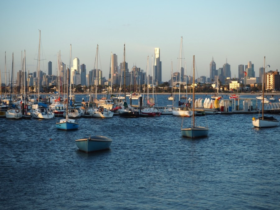 The view of the Melbourne CBD from St Kilda pier.