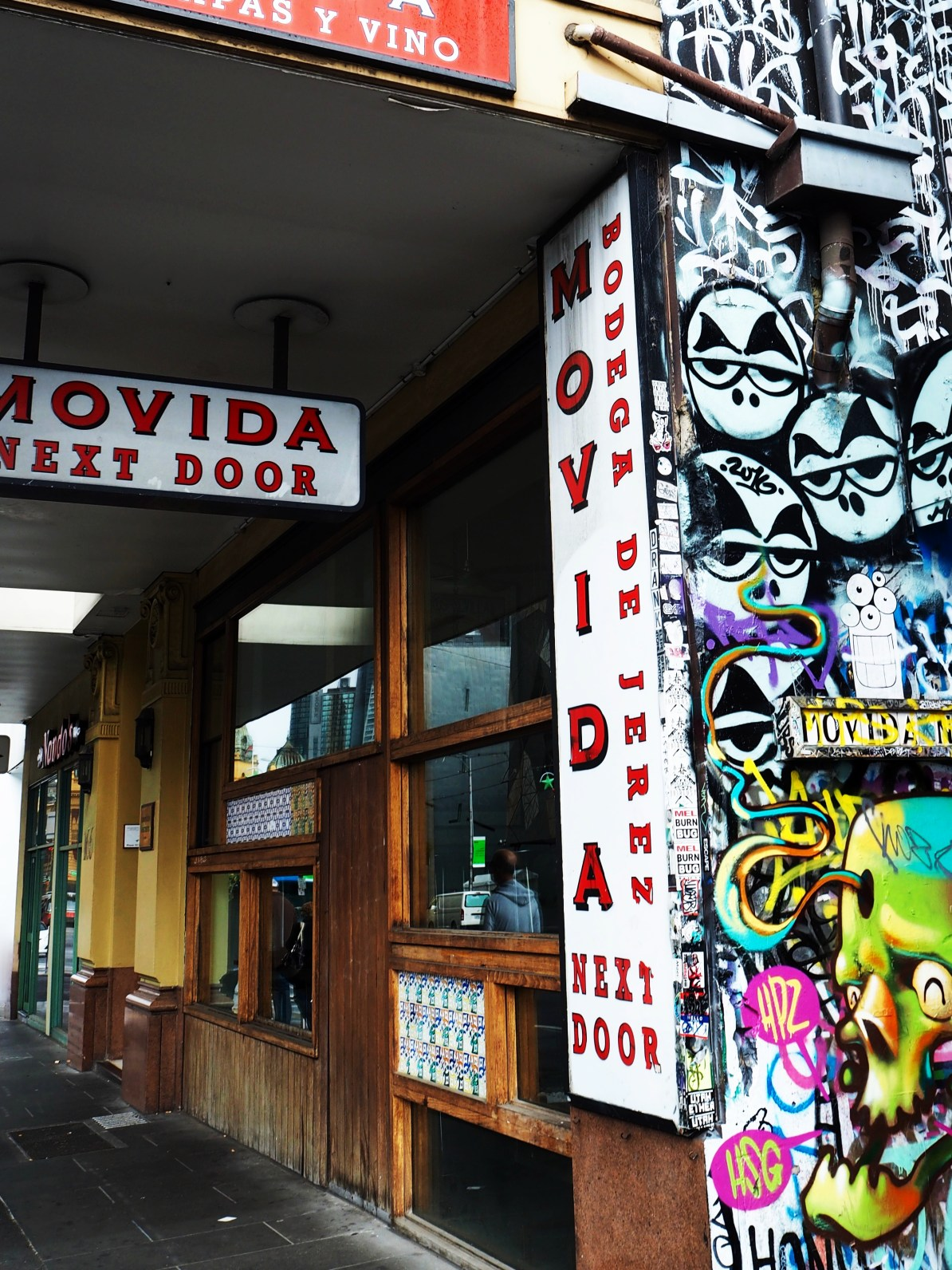 Movida Restaurant is located right next to Hosier Lane.