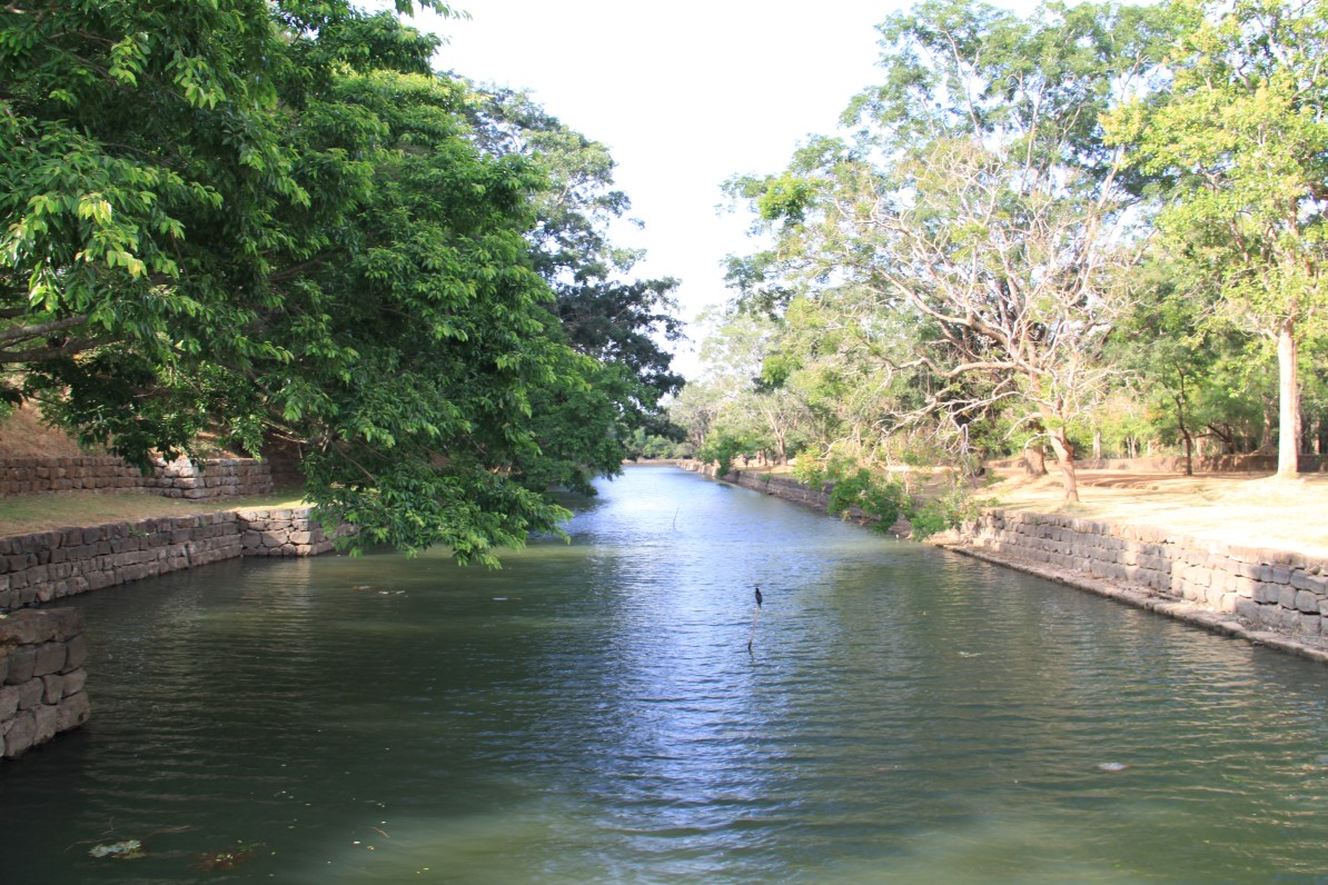 The moat at the entrance of the gardens.