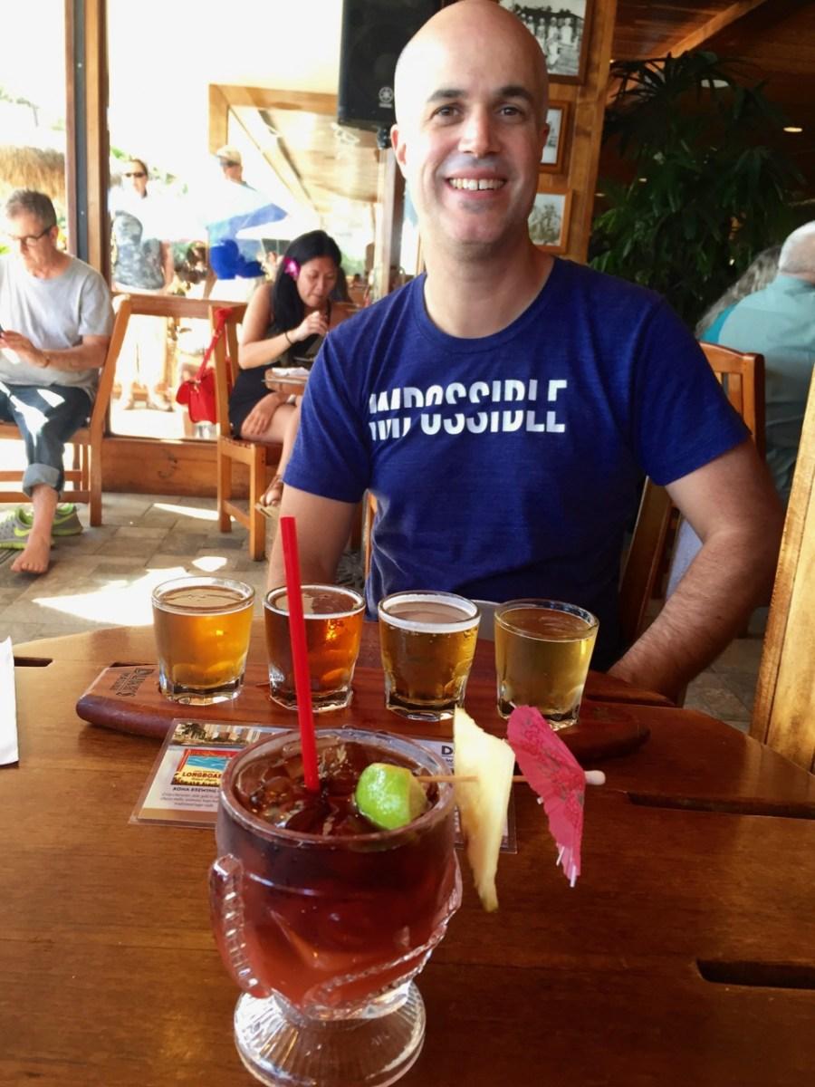 Mai Tai and beer flight at Duke's!